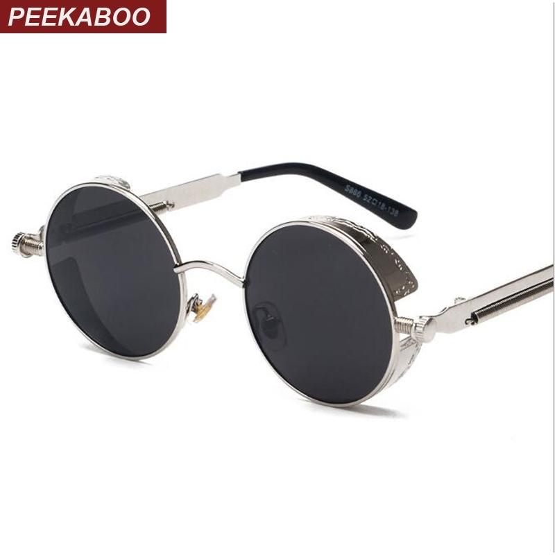 Male Mirror Peekaboo High Female Quality Frame Vintage Uv400 Steampunk Sun Retro Glasses Women Sunglasses Round Metal 3L4R5Aj